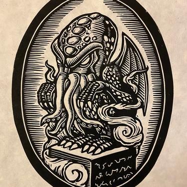 Cthulhu Block Print by WoodcutEmporium