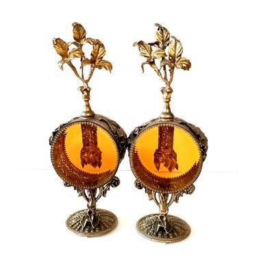 Large Pair Ormolu Pierced Amber Glass Perfume Bottle by ModernPicks