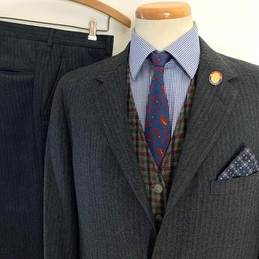 Vintage 1950s/1960s HERRINGBONE Wool TWEED 2pc Suit ~ 38 to 40 R ~ jacket / blazer / sack sport coat / pants ~ Preppy / Ivy Style / Trad by SparrowsAndWolves