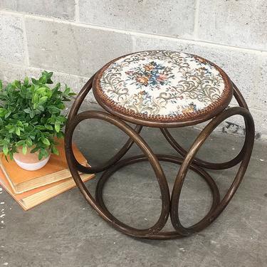 Vintage Rattan Ottoman Retro 1970s Bohemian + Bamboo Stool + Cushioned Needlepoint Top + Flower Pattern + Boho Seating + Home Decor by RetrospectVintage215