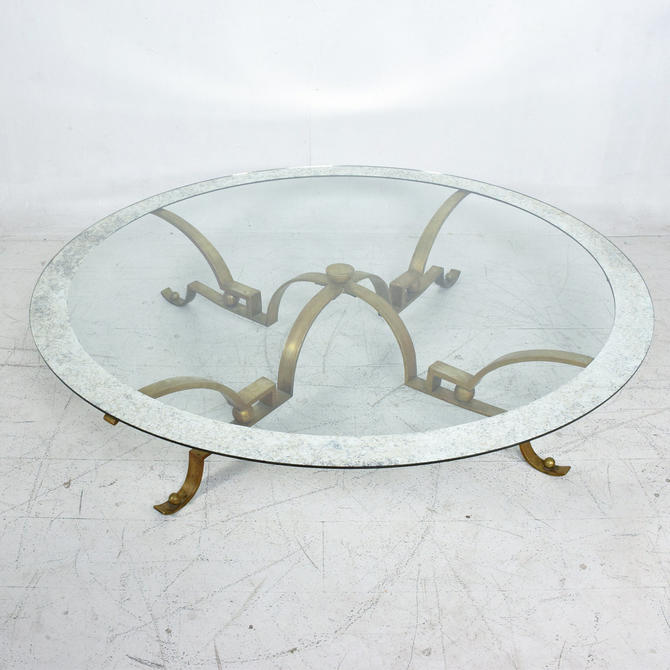 ARTURO PANI Exceptional Brass Round COCKTAIL Table w/ Antique Mosaic Glass 1950s by AMBIANIC