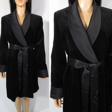 Vintage 90s Black Velvet With Satin Cuffs And Collar Smoking Jacket Robe Size S by VelvetCastleVintage