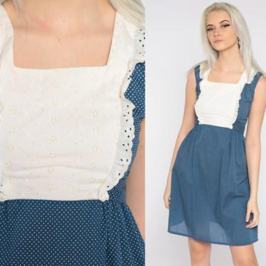 70s Babydoll Dress Blue Polka Dot Mini Dress Eyelet Lace Bib Dress 1970s 60s Mod White Empire Waist Bohemian Ruffle Extra Small xs by ShopExile