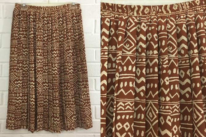 Vintage Leslie Fay Skirt 90s Skirt Brown Beige Tribal Chevron Abstract Geometric Striped Midi Skirt Elastic High Waisted Accordion Pleated by CheckEngineVintage