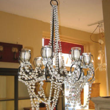 Iron Candle Chandelier with hanging glass beads with 28