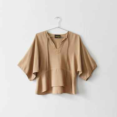 vintage 70s wide sleeve blouse, cropped beige top, size M by ImprovGoods