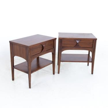 Kent Coffey Perspecta Mid Century Walnut and Pecan Nightstands - Pair - mcm by ModernHill