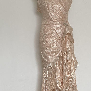 Vintage Sequin Bead pearl dress, pink lace wedding dress, mother of the bride dress, embellished sequined dress size xs 2 by ShopRVF