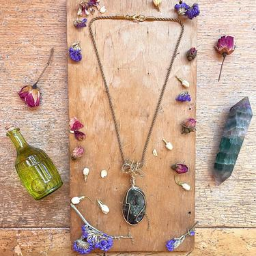 Handmade Wire Wrapped 14K Gold Moss Agate Pendant Necklace Fairycore Jewelry Thoughtful Gifts for Her by LoveItShop