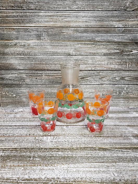 Vintage Juice Carafe & Glasses, Refrigerator Glass, Vintage Hazel Atlas Juice Pitcher n Glasses, Orange Juice, Tomato Juice, Vintage Kitchen by AGoGoVintage