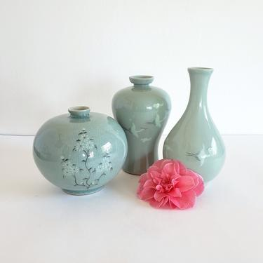 Vintage Celadon Vase Set, Three Small Korean Pottery Vases, Mixed Shapes and Sizes by CivilizedCrow