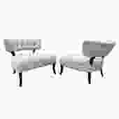 Pair of Elegant Tufted Back Slipper Chairs 1940s