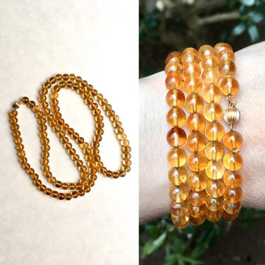 Vintage Citrine Bead Necklace with 14K Yellow Gold Clasp, 30 Inch by templeofvintage