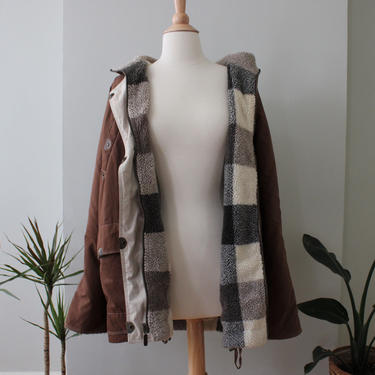 Vintage Reversible Plaid Fleece Brown Canvas Parka Jacket Women's Size M by NeonSkyVintageMN