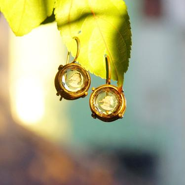 """Vintage Extasia Hand Pressed Glass Intaglio Cameo Drop Earrings, Transparent Yellow Glass Cameos, French Hook Earrings, Signed EXT, 7/8"""" L by shopGoodsVintage"""