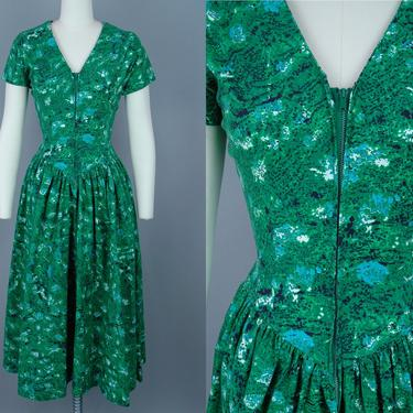 1950s Cotton Zip Front Dress   Vintage 50s 'Jerry Gilden' Green Abstract Print Day Dress with Full Skirt   medium by RelicVintageSF