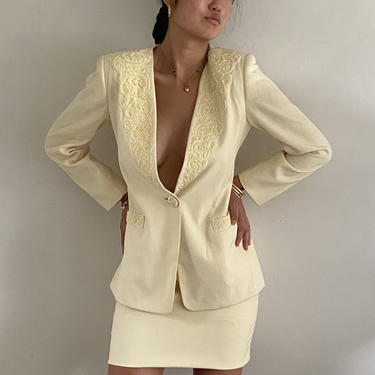 90s beaded skirt suit / vintage butter cream all season beaded embellished plunging ivory tuxedo blazer skirt suit   S by RecapVintageStudio