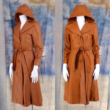 70s caramel leather hooded trench coat Sm / vintage 1970s Junior Gallery womens coat sz 5 / S by ritualvintage