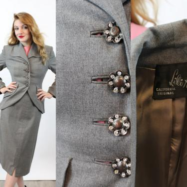 1950s 1951 LILLI ANN suit cutaway jacket xs small   new fall by CrushVintage