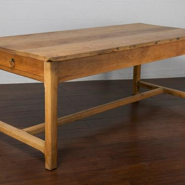 Antique Country French Farmhouse Mixed Wood Trestle Dining Table by StandOutSpaces