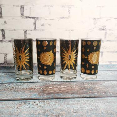 Rare Vintage Fred Press Set of 4 Mid Century  Black and Gold Collins Glasses - Eclipse Pattern - Celestial Barware by BellsAndWhistlesEtc
