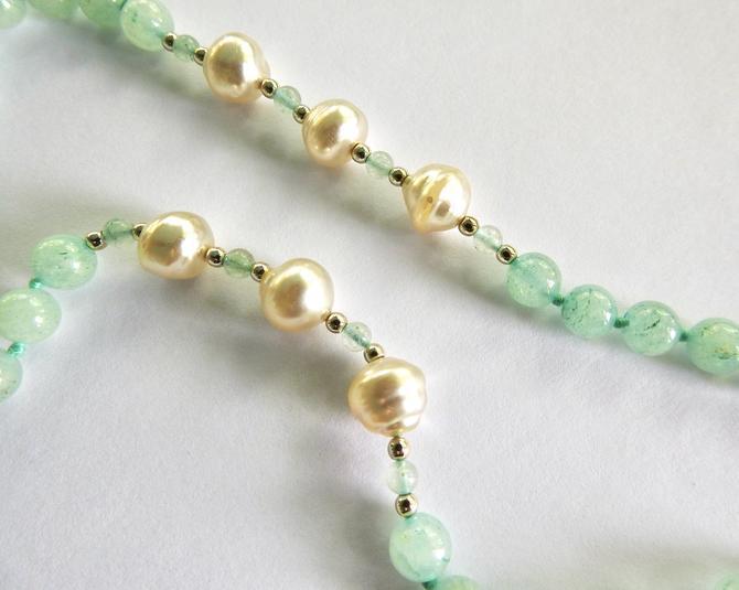 Fresh Water Baroque Pearl and Semi Precious (Jade?) Bead Necklace by LegendaryBeast