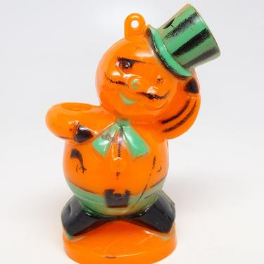 Vintage Rosbro Pirate Halloween Candy Container Ornament, Retro Plastic Cat with Top Hat Lollipop Holder by exploremag