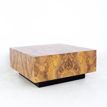 Milo Baughman Style Mid Century Square Burlwood Laminate Coffee Table - mcm by ModernHill