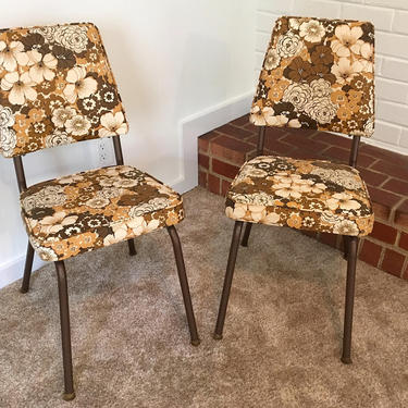 Set of Two (2) Vintage Brown Floral Vinyl Chairs with Metal Legs Retro White Tan 1960s 1970s Stoneville Furniture Company Mad Men by CheckEngineVintage