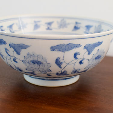 Blue and White Floral Chinoiserie Ceramic Bowl by CapitolVintageCharm