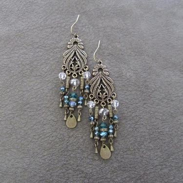 Crystal chandelier earrings, teal and brass earrings, boho chic earrings, gypsy earrings, unique earrings, bling, long statement earrings by Afrocasian