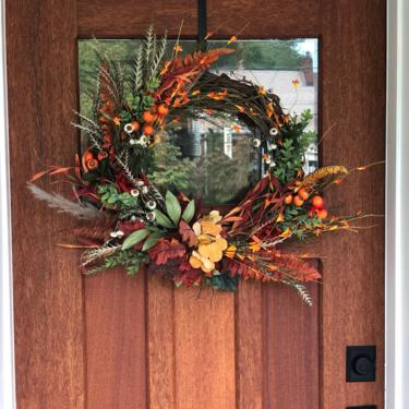 Rustic pampas, grevillea and everlasting fall wreath, rust fern, golden hydrangea, fall grass wreath, Curb Appeal, Autumn Decor, Fall wreath by NovaWreaths
