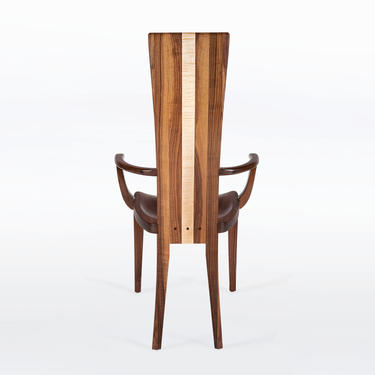 Wood Dining Chair In Solid Cherry - Gazelle High Back With Arms by NathanHunterDesign