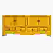 Chinese Distressed Yellow Low TV Console Table Cabinet cs4918S