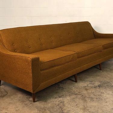"""Vintage Kroehler Mid-Century Modern Rust Tweed Sofa 95"""" Long by modernmidcenturyfurn"""
