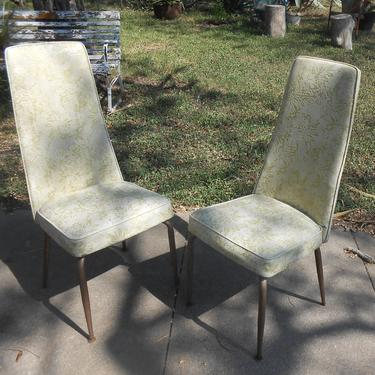 Vintage Chrome City Mid Century Modern High Back Kitchen Chairs Pair 2 Chairs Original Vinyl Upholstery Atomic Age Eames Era Dining by kissmyattvintage