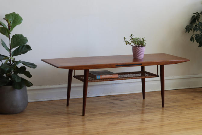 Mid Century Danish Modern Atomic Cane Coffee Table by SharkGravy