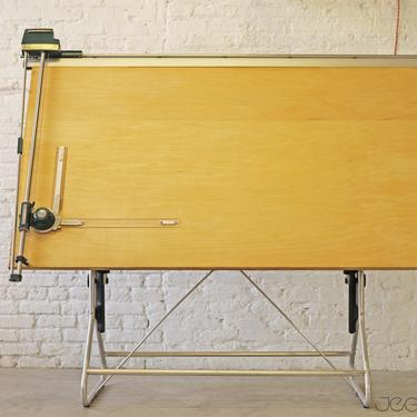 massive adjustable drafting table by the Frederick Post Co with drafting machine by Keuffel & Esser by jeglova