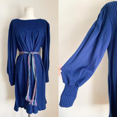 Vintage Navy Balloon Sweater Dress / L-XL by MsTips