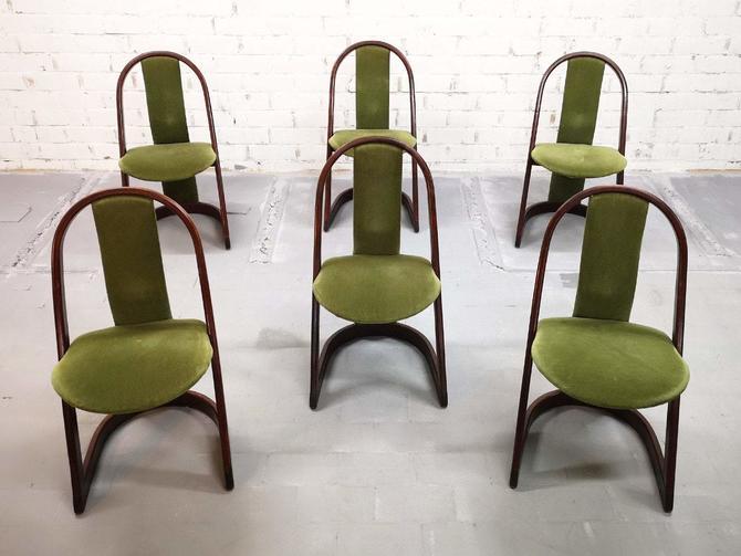 Set of 6 Italian Mid-Century Modern Vintage Green Velvet Designer Dining Chairs