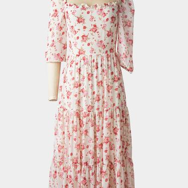 Whimsical Pink Floral Tiered Tea Dress