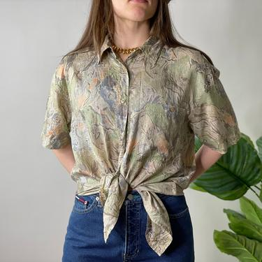 Vintage Muted Sage Green Silk Shirt Sleeve Button Up Blouse, Size Large by Northforkvintageshop
