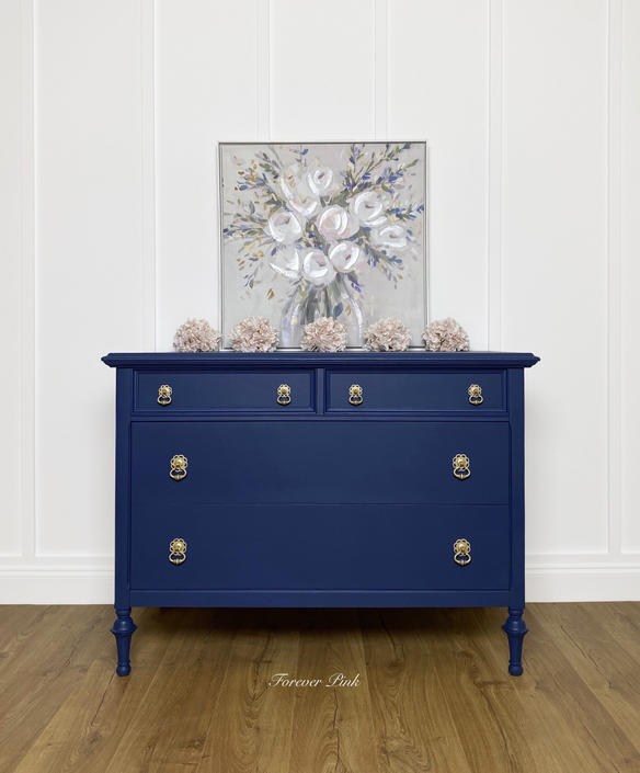 NEW - Vintage Four Drawer Chest of Drawers, Blue Antique Dresser, Farmhouse Bedroom Furniture by ForeverPinkVintage