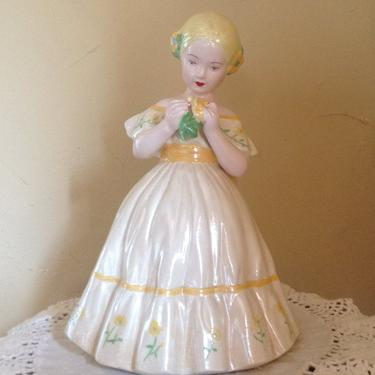Vintage Ceramic Pretty Girl Holland Figurine Yellow Holding flowers Hand Painted-1950's by JoAnntiques