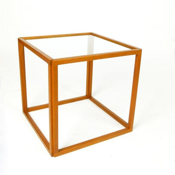 Kai Kristiansen Teak Glass Top Cube Table