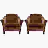 Tailored Mohair Velvet Chairs with Flared Arms and Button Tufting