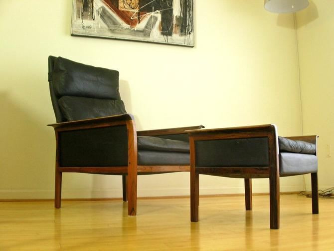 Danish Modern Brazilian Rosewood & Leather High Back Lounge Chair By Hans Olsen for Vatne Mobler - Eames, Knoll, Herman Miller Mid Century by RetroSquad