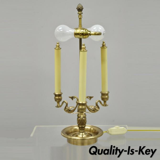 Empire Regency Style Brass Candlestick Bouillotte Desk Table Lamp with Swans (B)