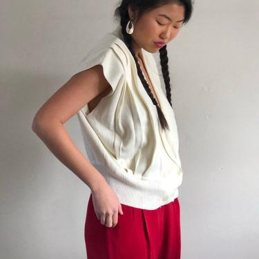 80s pleated double breasted sweater vest / vintage creamy white cropped wrap front cap sleeve plunging sweater vest   M by RecapVintageStudio