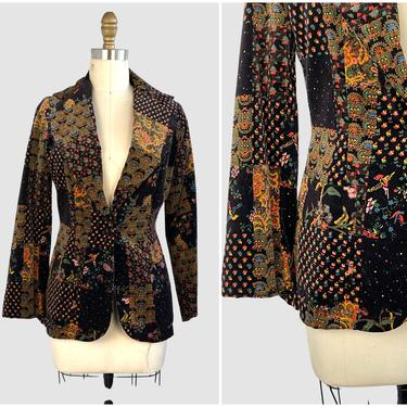 VELVET CRUSH Vintage 70s F.O.B / L.A Jacket | 1970s Velveteen Patchwork Print Blazer | Boho Hippie Chic Bohemian Psychedelic Top, Size Small by lovestreetsf
